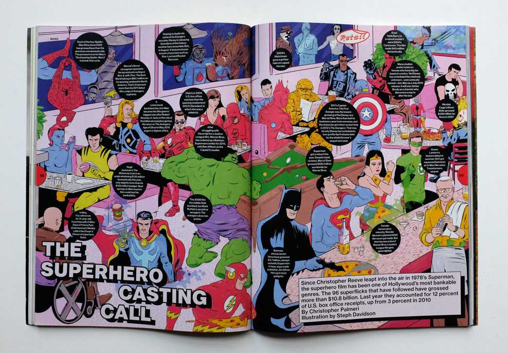 Superhero spread illustration