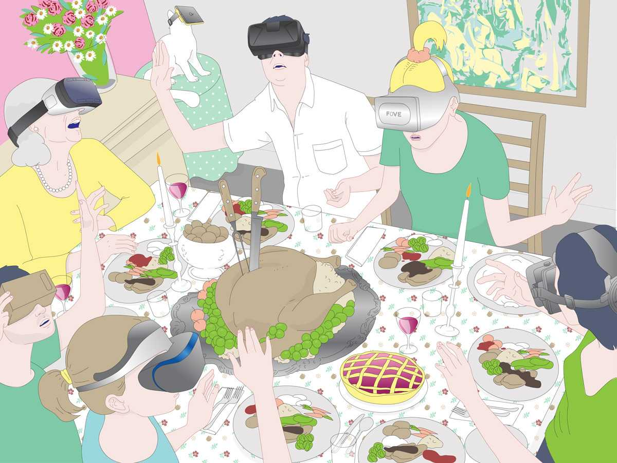VR dinner illustration for Businessweek